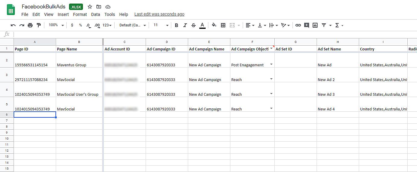 Bulk Facebook Ads Excel